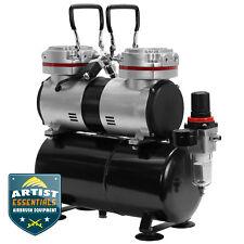 1/3 HP Twin Piston Airbrush Compressor - Professional Oil-less Air Pump w/Tank
