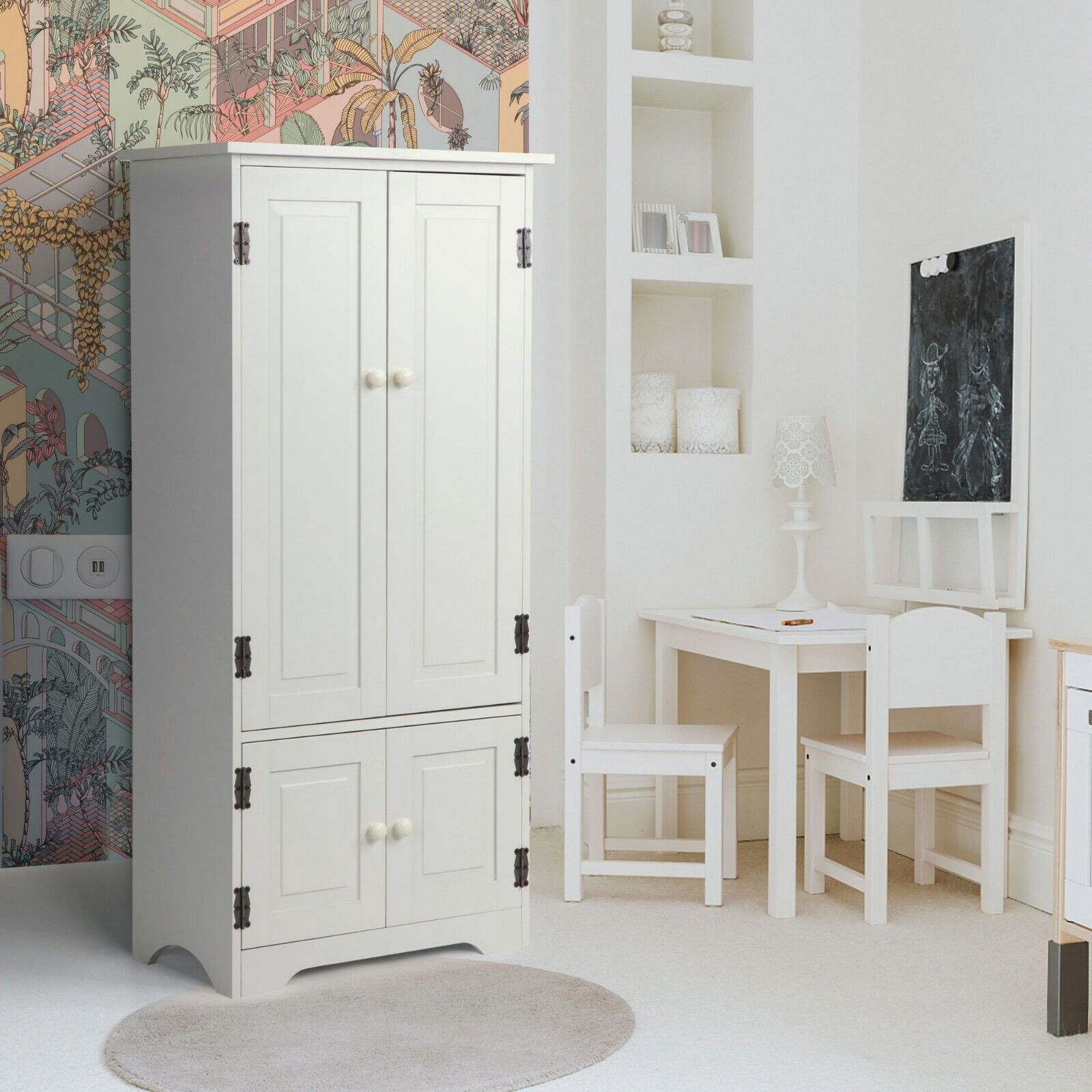 Wood Storage Cabinet Organizer w/2 Doors Adjustable Shelves