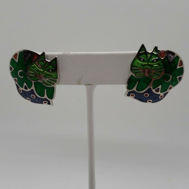 Vintage green enamel Berebi cute CAT pierced earrings