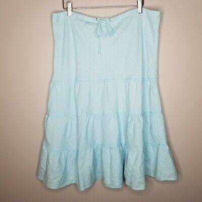 J Crew Aqua Blue Linen Midi Skirt Layered Ruffles Size Medium