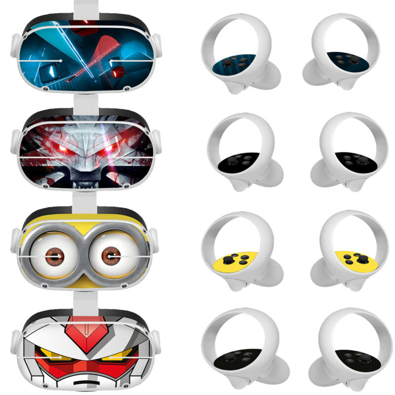 Removable Stickers Cute Protective Skin Cover Set for Oculus Quest 2 VR Glasses