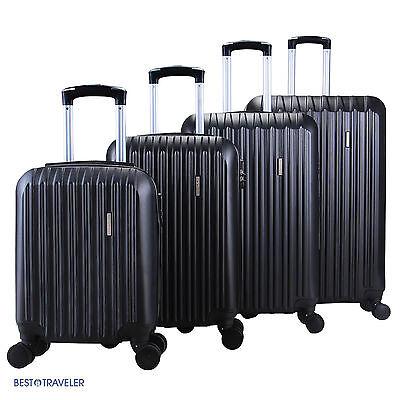 4Pcs Luggage Travel Set Bag ABS Spinner Trolley Carry On Suitcase TSA Lock Black