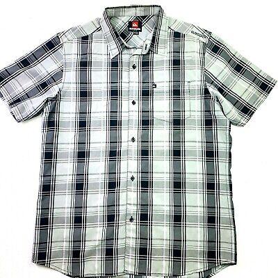 Quiksilver Casual Short Sleeve Plaid Shirt Large Size Button Down