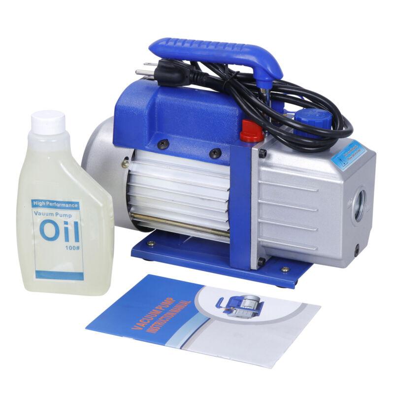 4CFM 1-Stage Pump Rotary Vane Deep Vacuum AC HVAC 1/3HP w/ Free Oil Bottle