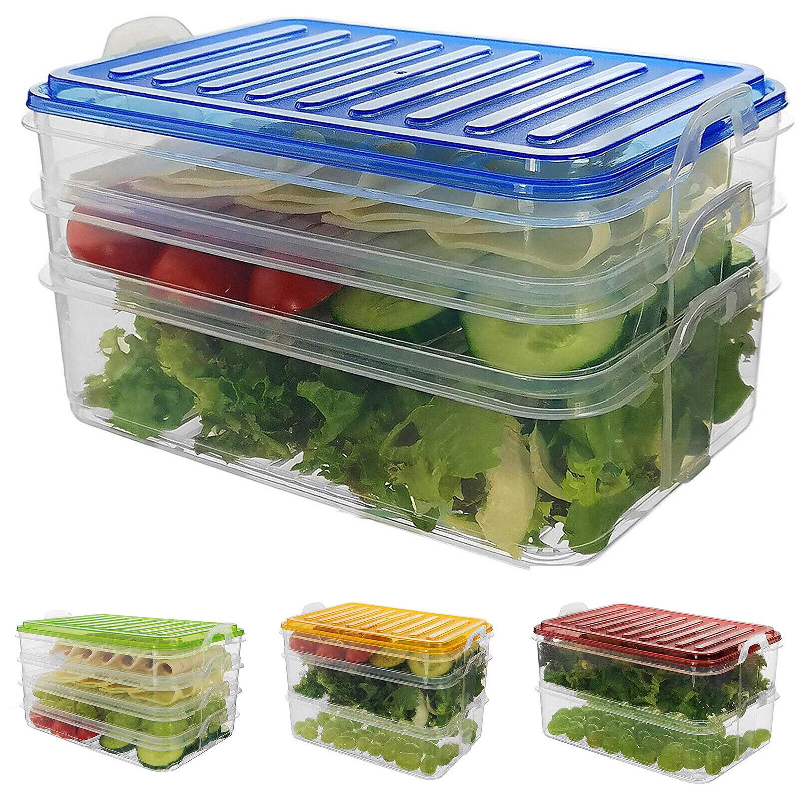 Aufschnittdose grün 3 x Vorratsbox mit je 3 Behältern weiß und blauer Deckel