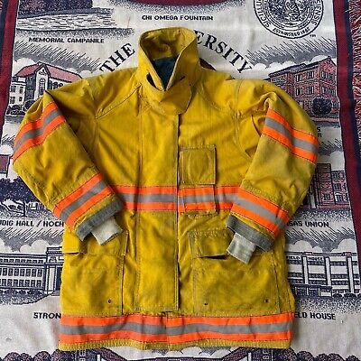 Mens Vintage Cairns Canyon Fire Dept Firefighter Quilted Yellow Coat Jacket 46