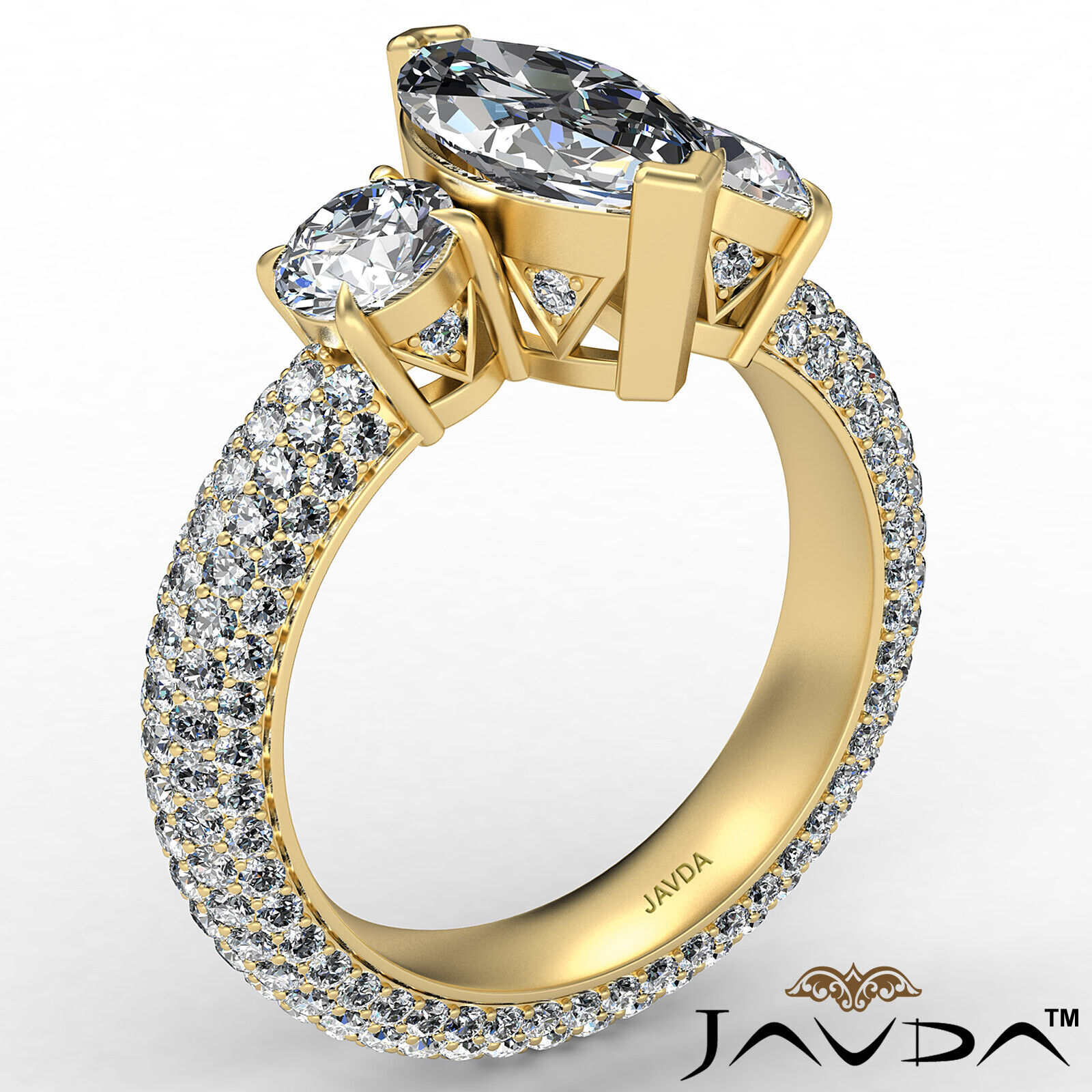 Marquise Diamond Engagement Pave Set Ring GIA K Color & VVS2 clarity 3.05 ctw 4