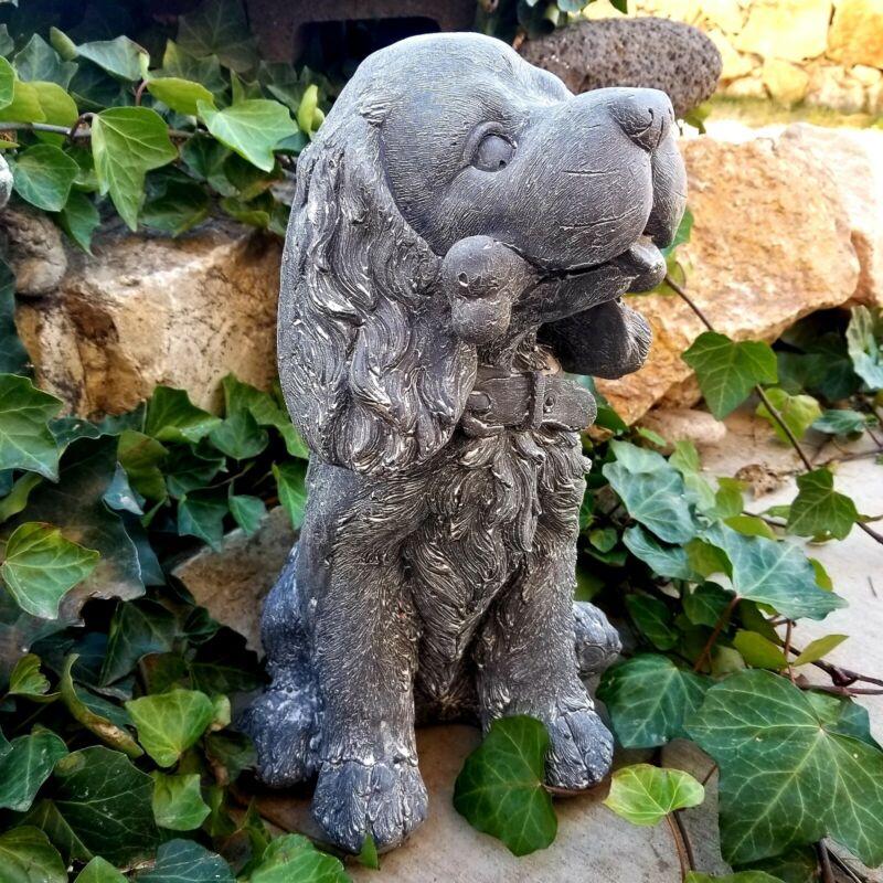 Sitting Resin Puppy Dog with Bone Figurine Statue
