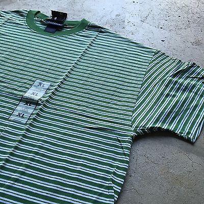 90s VTG NWT Striped GRUNGE T Shirt SURF Green XL White SKATE VAPORWAVE Bold