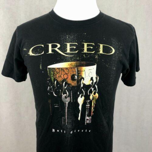 Creed Full Circle T-Shirt Medium Black Gold Keys Double Sided Graphic Tee 2009