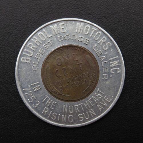1955-D Burholme Motors Dodge Vintage Lucky Wheat Penny Encased Good Luck Charm