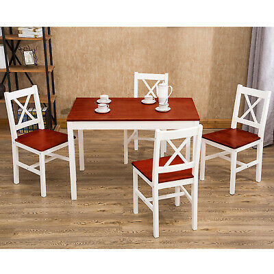 5 pcs Pine Wood Dining Chairs and Table Set Kitchen Dining Room Furniture -