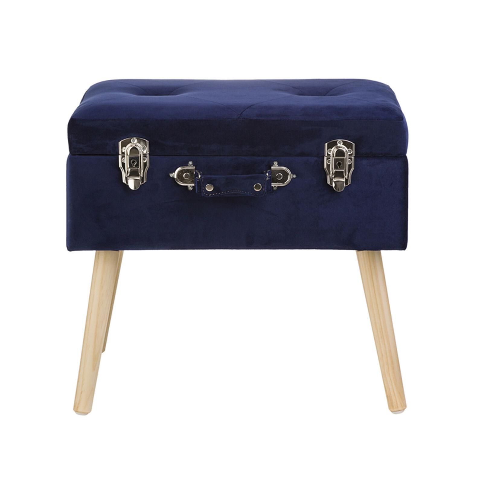 Glitzhome Velvet Upholstered Storage Stool Ottoman Bench ...