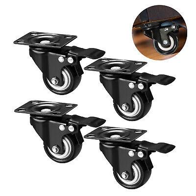 Set Of 4 Heavy Duty Swivel Plate Casters With Lock Brakes 1.5 2 Pvc Wheels