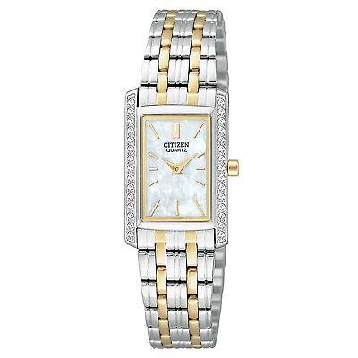 Citizen Quartz Women's Swarovski Crystal Accents Two Tone 19mm Watch EK1124-54D