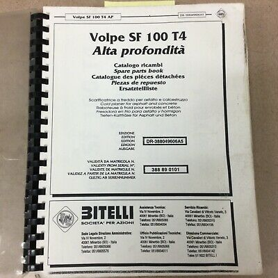 Bitelli Volpe Sf 100 T4 Parts Manual Book Catalog Milling Machine Cold Planer