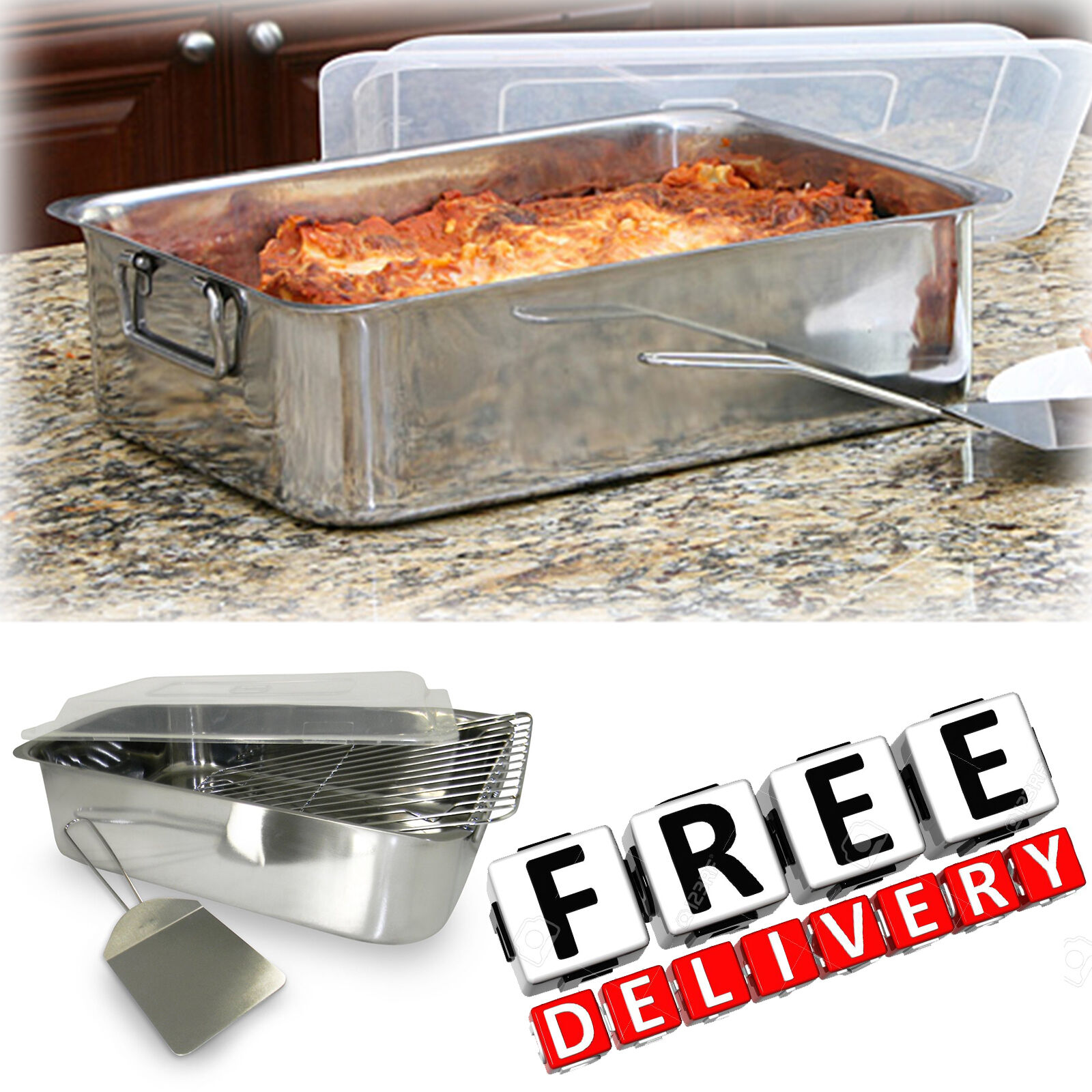 Stainless Steel Roaster With Cover 4 Piece Set Rack Spatula