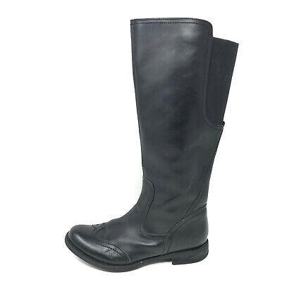 Timberland SAVIN HILL Stretch Tall Riding Boots Black Leather Wingtip Womens 6