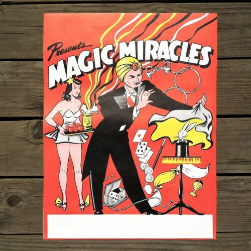 Vintage Original MAGIC MIRACLES Magician Poster 1950s Sexy Assistant NOS