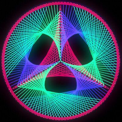 Stringart UV Deko - Goa Psy Trance Party - Schwarzlicht Fadenkunst - Kreis D2A
