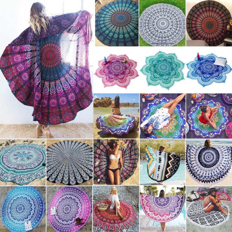 Mandala Indian Tapestry Camping Boho Beach Yoga Round Mats T