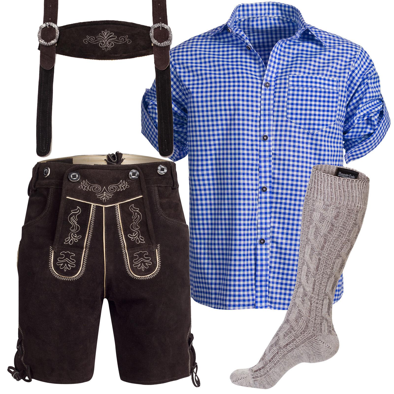 Trachtenlederhose Bundhose kurz m.Trägern dunkelbraun+ Trachtenhemd blau+ Socken