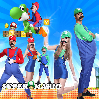 Adult Boys Super Mario Luigi Bros Brothers Costume Workmen Fancy Dress Outfit