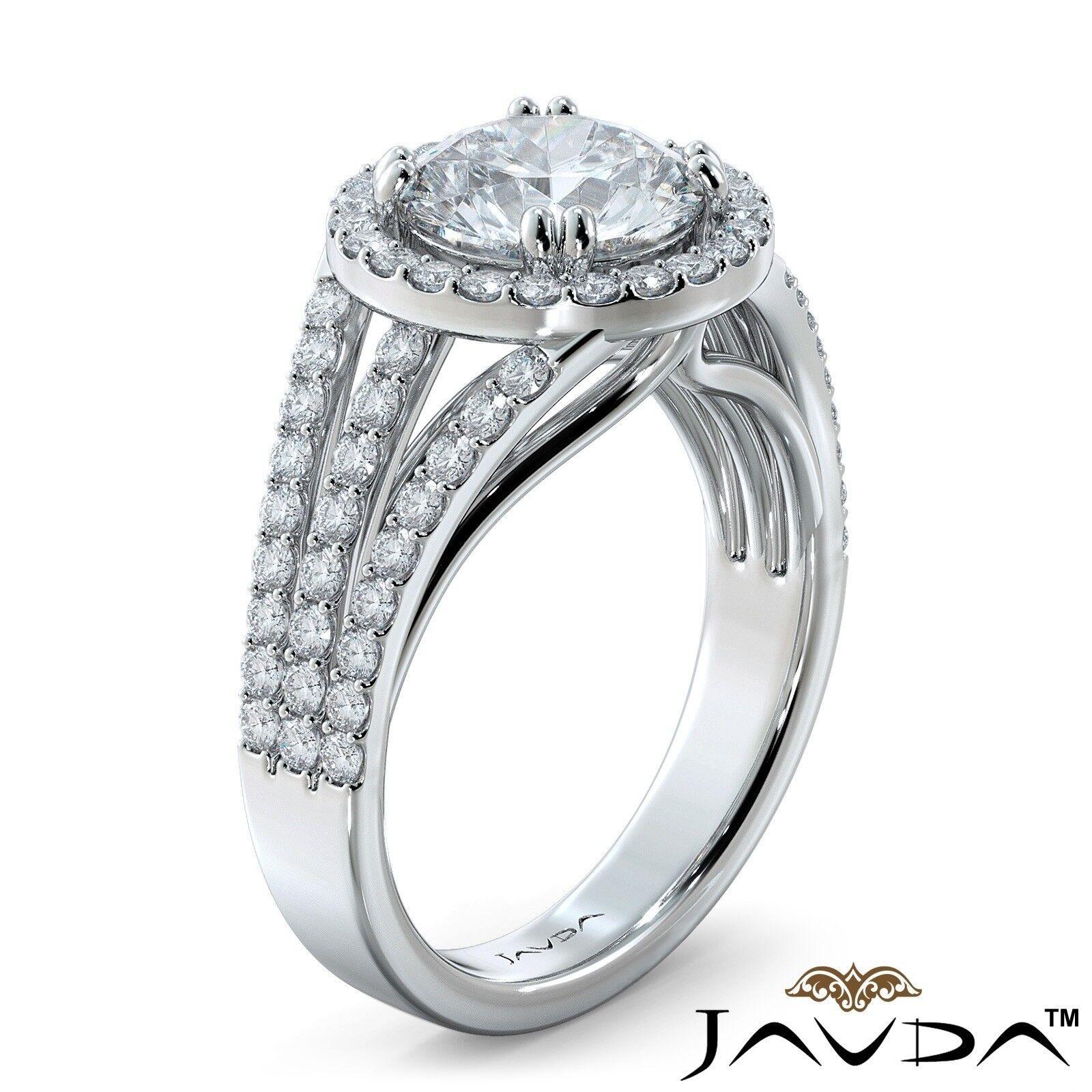 2ct Trio Shank Halo Sidestone Round Diamond Engagement Ring GIA E-VS2 White Gold 1