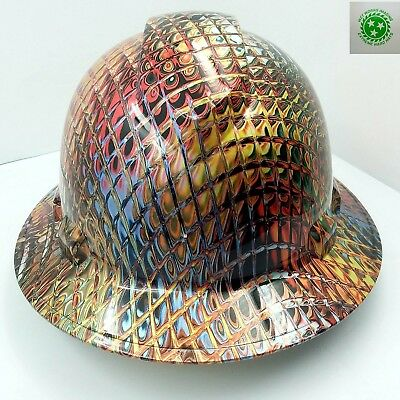New Custom Pyramexfull Brim Hard Hat Ironman Metallic Swirl 3d Crazy Sick New