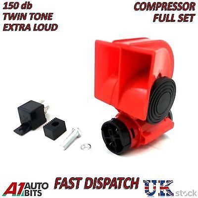 12v 139db Car Air Horn Blast Compact Twin Tone Loud Horns Truck Lorry SUV Boat