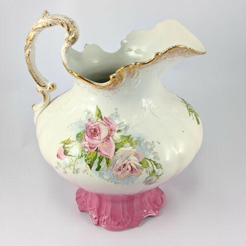 R S Prussia Floral Antique Gold Trim Porcelain Pitcher