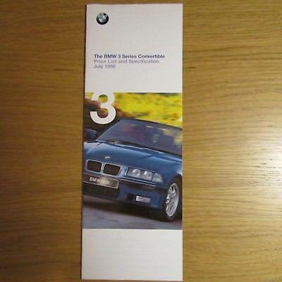 BMW 3 Series E36 318i 323i 328i M3 Evolution Convertible UK Price List 1999