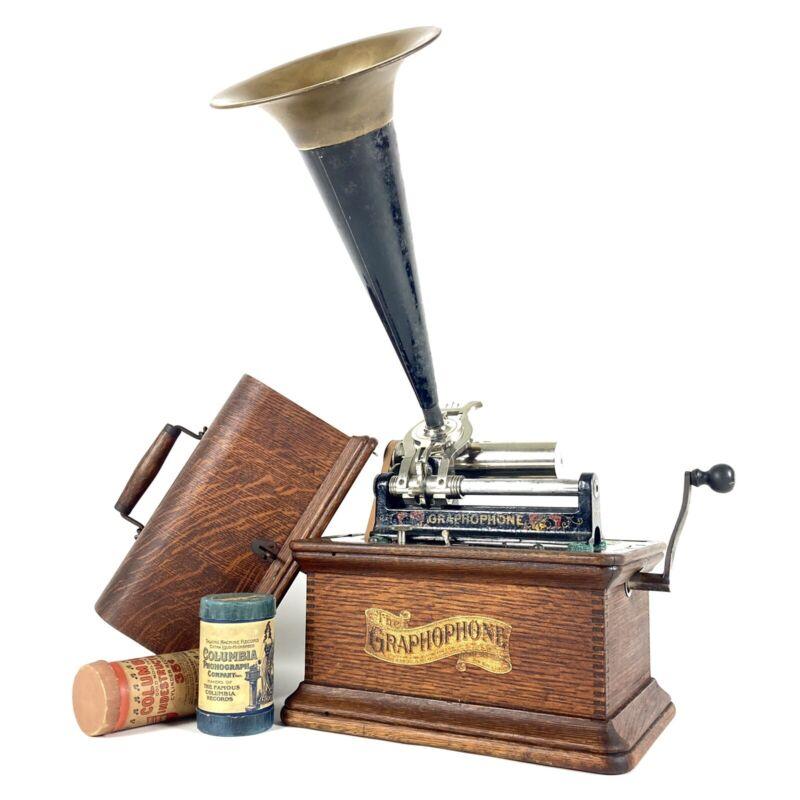 "SUPERB 1906 Banner Columbia Graphophone Type AZ Cylinder Phonograph + 14"" Horn"