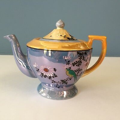 Vintage Lustreware Teapot Hand Painted signed
