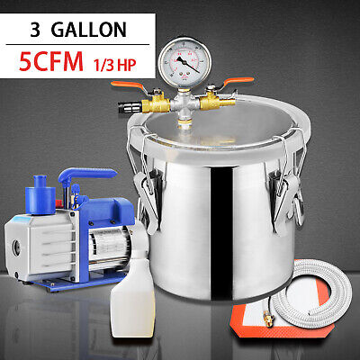 3 Gallon Vacuum Chamber 5 Cfm Single Stage Pump Degassing Silicone Kit Silver