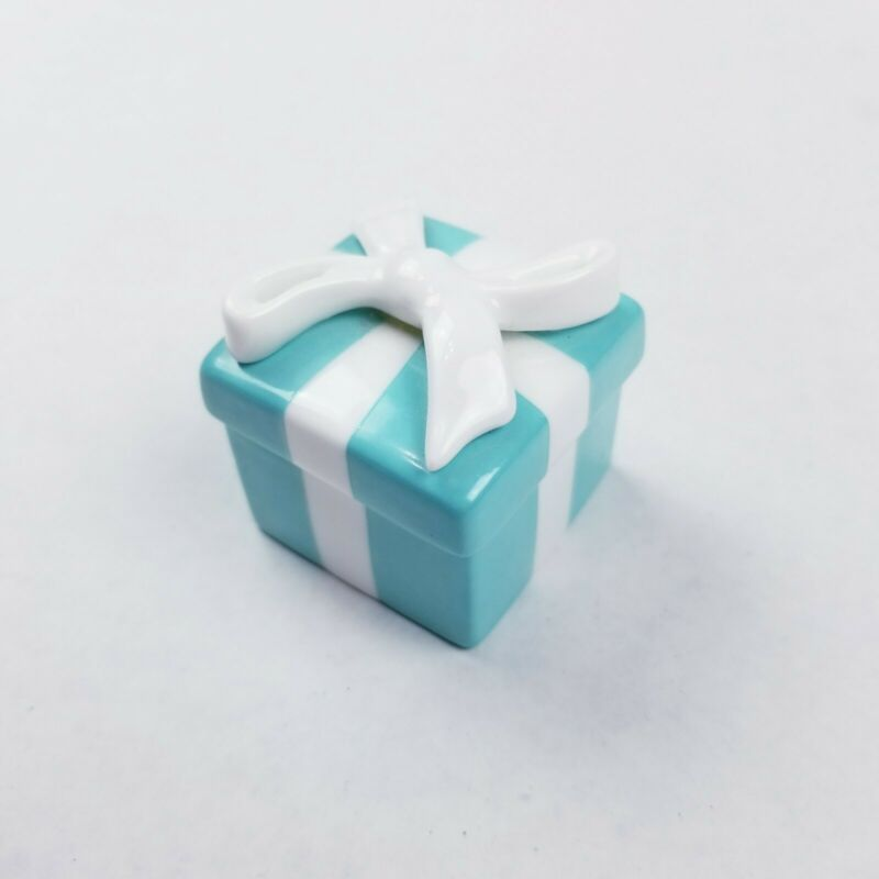 "Mini Tiffany & Co Porcelain Trinket Box 1.75"" Blue with White Bow"