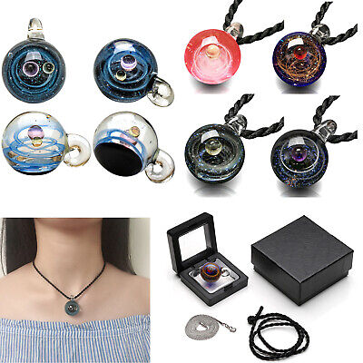 Lampwork Glass Ball Stereo Universe Galaxy Planet Space Pendant 2x Necklace Gift (Window Necklace)