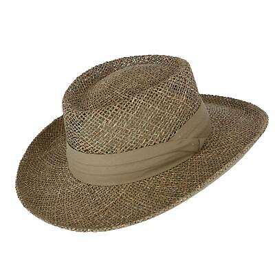 New Kenny K Men's Twisted Seagrass Gambler Hat with Pleated Band Seagrass Gambler Hat
