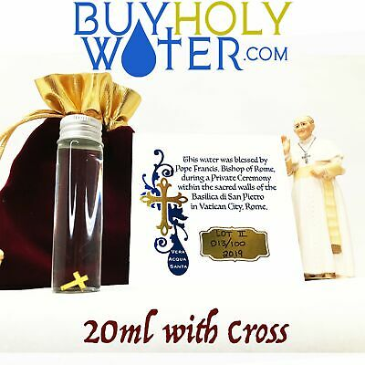 Holy Water 20mL Vial Blessed By Pope With Cross Hand Made Numbered Limited - $32.88