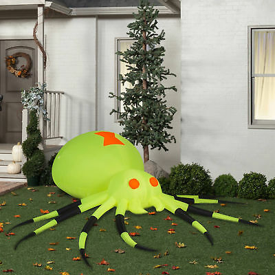 Gemmy Airblown Inflatable 3.5' X 11.5' Giant Neon Green Spider Halloween - Giant Inflatable Spider Halloween