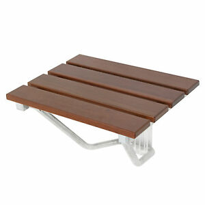 folding bath seat bench folding shower chair wall mount solid wood - Teak Shower Bench