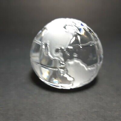 Vintage Art Glass Crystal World Globe Clear Paperweight Map Frosted 2 1/4