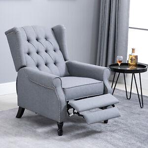 HOMCOM Vintage Reclining Sofa Armchair Single Couch Home Cinema Chair Grey