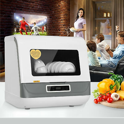 Portable Countertop Dishwasher 5 Washing Programs Display Automatic Dishwashing