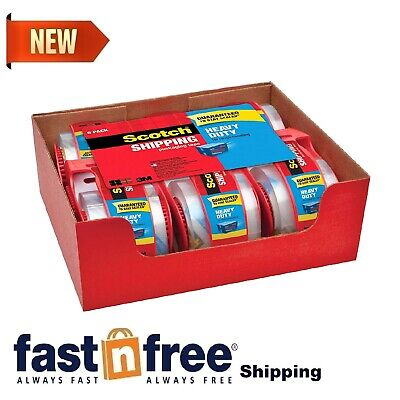 Scotch Clear Shipping Packing Tape 3m 1.88x800in 6 Rolls W Dispenser Heavy Duty