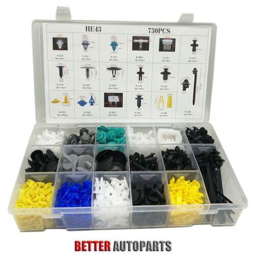 Car Parts - 730Pcs Car Body Plastic Push Pin Rivet Fasteners Trim Moulding Clip Assortments