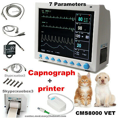 Vet Veterinary Patient Monitor Cms8000 Capnograph Co2printer 7 Parameter Contec