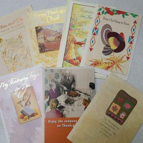 """NEW LOT of 7 Thanksgiving Holiday GREETING CARDS w/Envelopes """"American Greeting"""""""