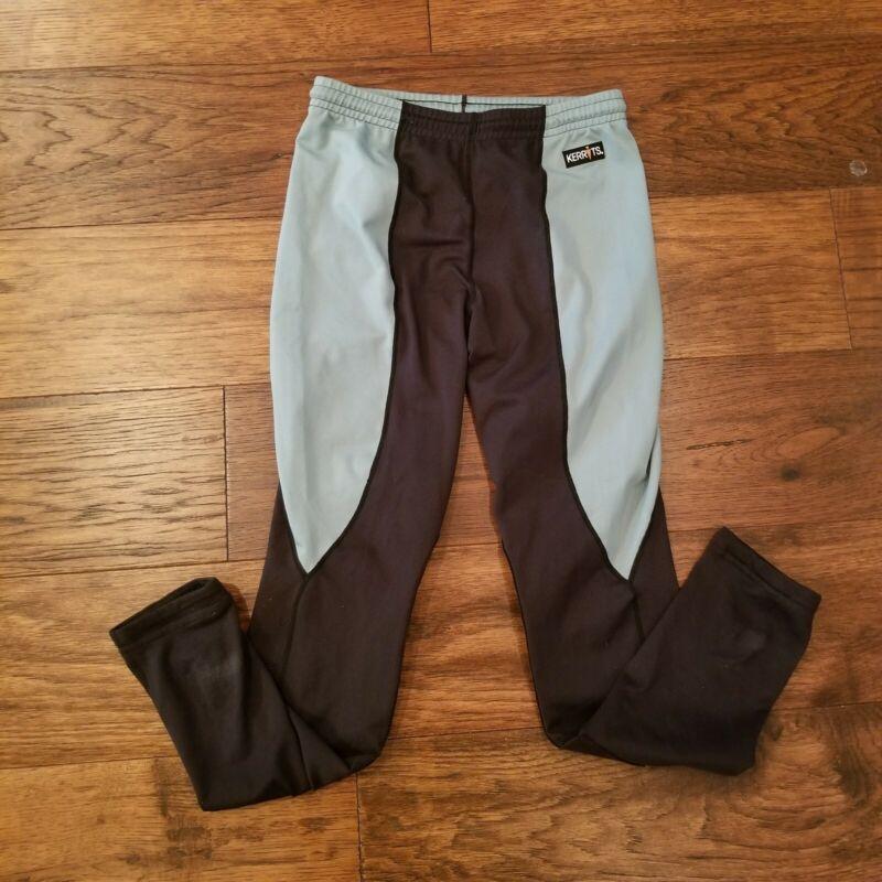 Kerrits Girls Equestrian Riding Pants Legging Size XL 16 Black Green Teal Pullon