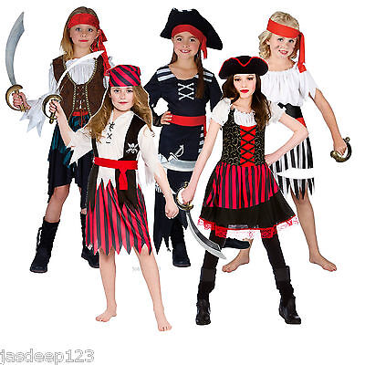 Pirate Girls Fancy Dress Costumes Childrens Kids Book Week Halloween Ages - Childrens Pirate Fancy Dress Costumes